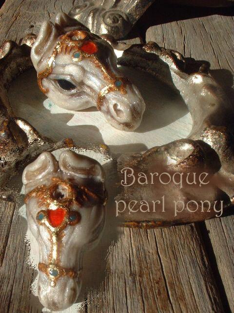 Baroque Pearl horse netsuke by Sleetwealth