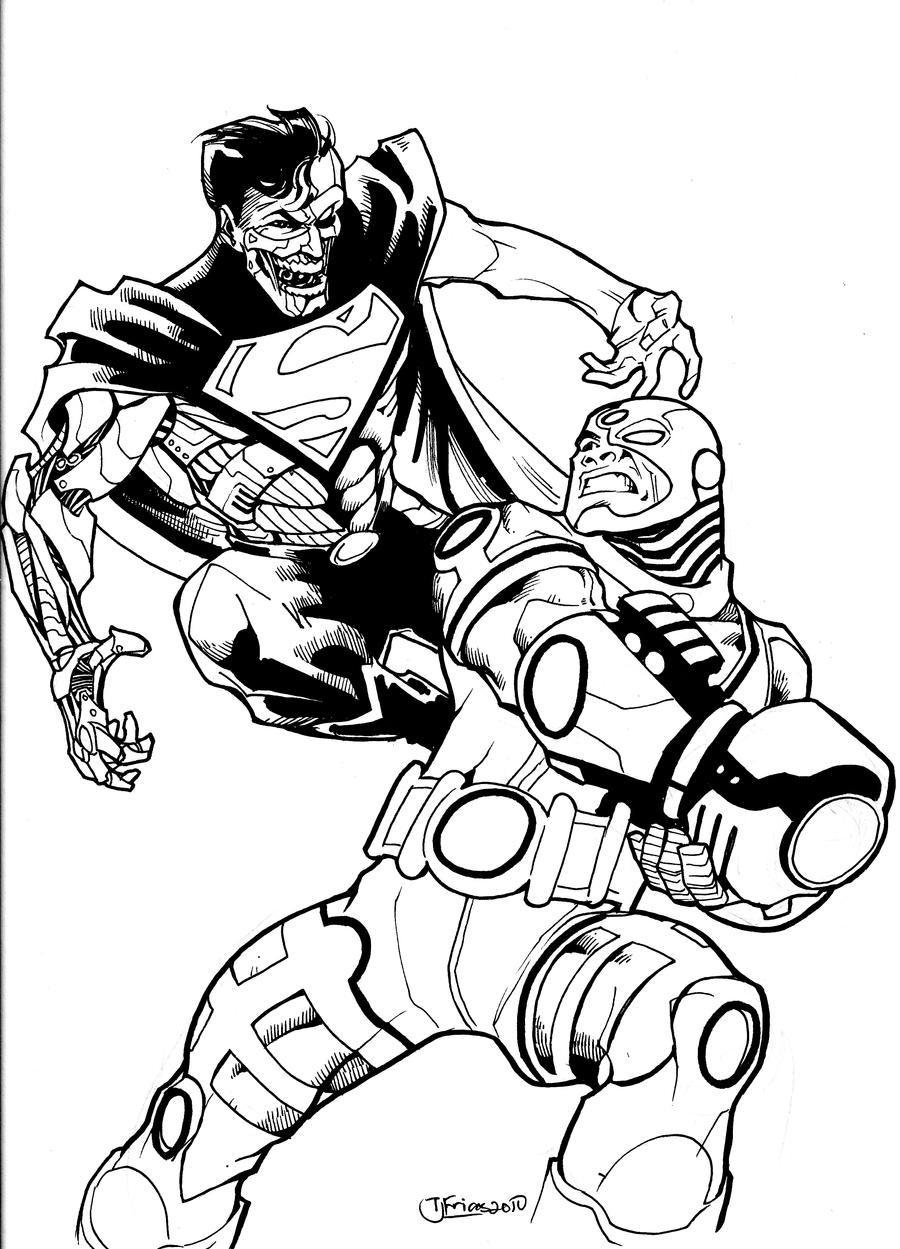 coloring page 28 cyborg vs cyborg superman by guinnessyde