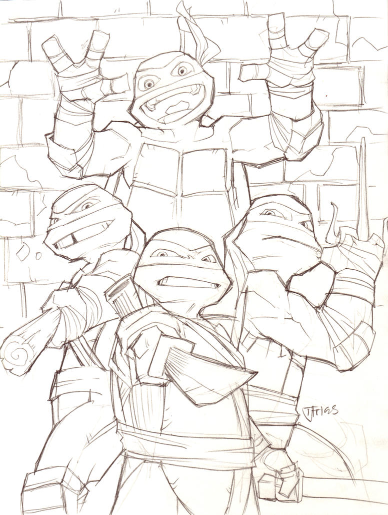 Line Art Ninja Turtles : Teenage mutant ninja turtles by guinnessyde on deviantart