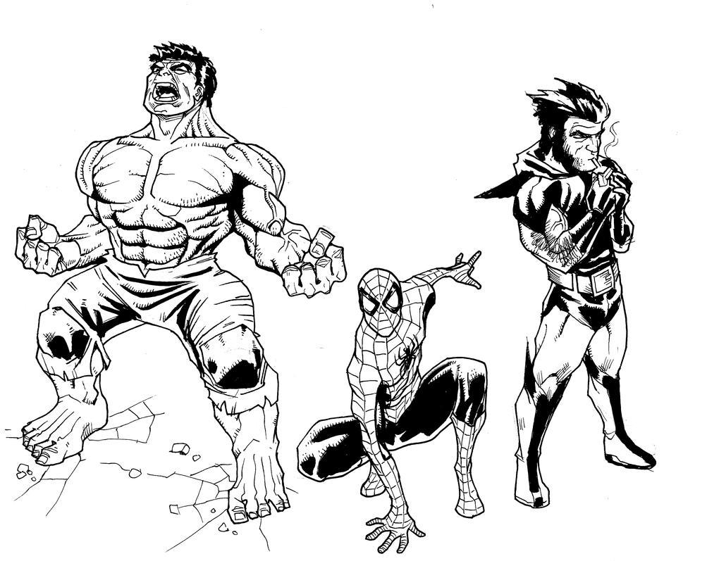 01272017 Hulk Spidey Logan by guinnessyde