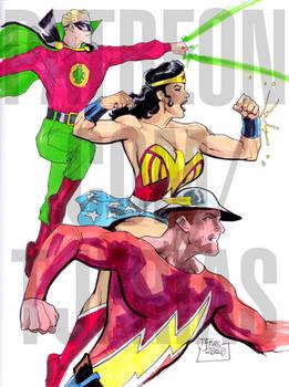 Wonder Woman, the Flash, and Green Lantern