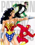 90s Wonder Woman, the Flash, and Green Lantern