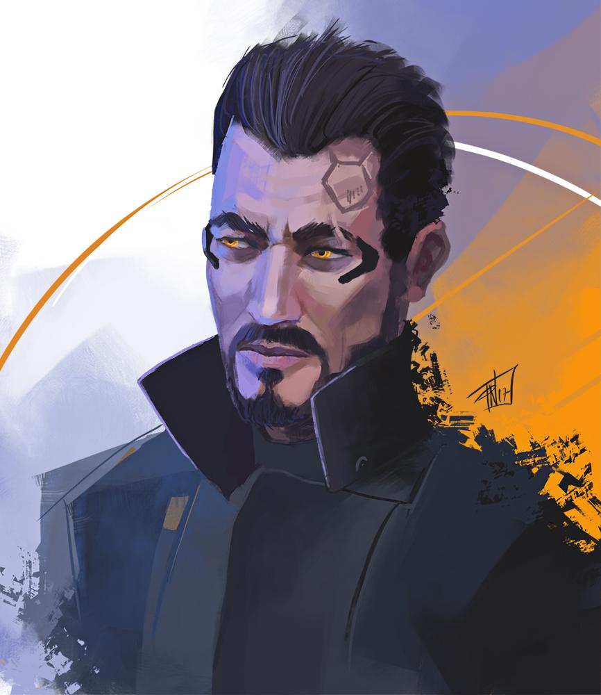 Adam jensen - quick portrait by DeadlyNinja
