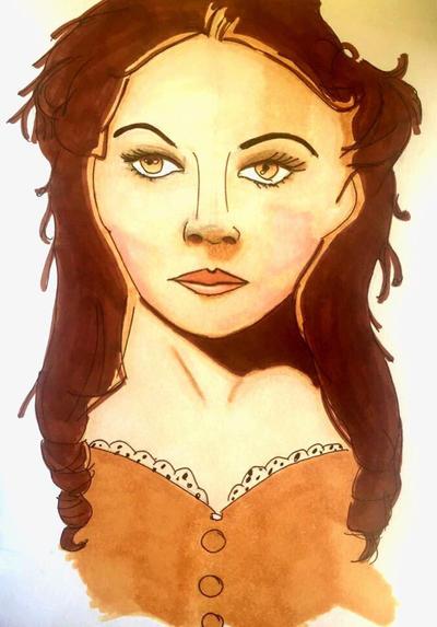 Portrait Inspired Quick Sketch-Scarlet O'Hara by Nicki3366