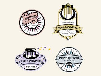 Vintage Piano Badges by GraphicIdentity
