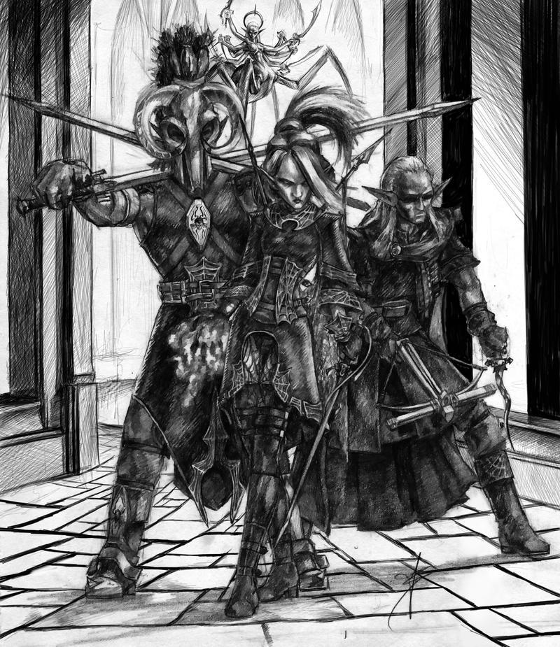Drow Trio by tacticangel