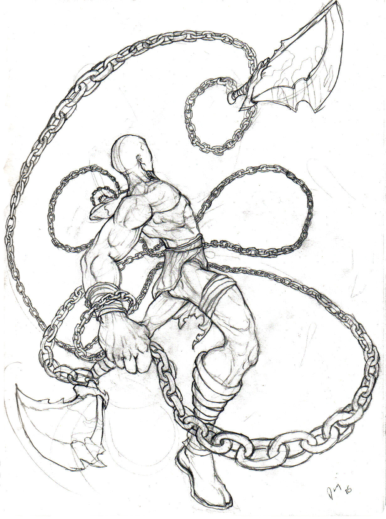 Kratos Lineart By Liquidsmooth On Deviantart