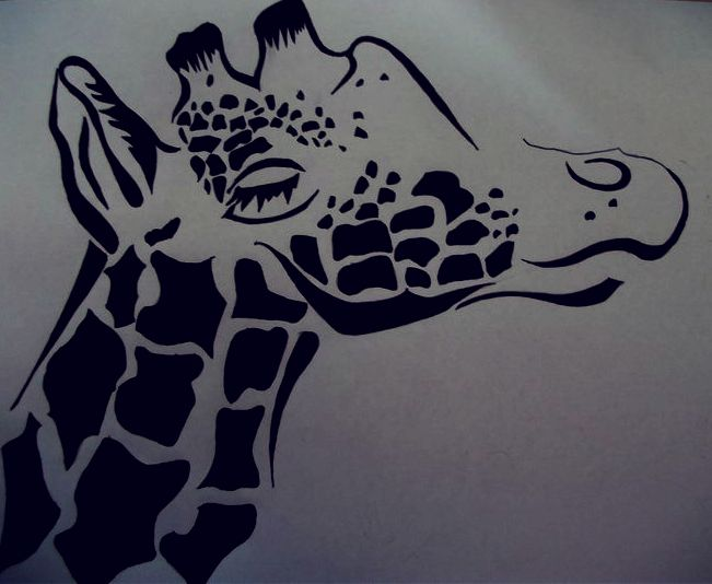 Giraffe Head Tattoo by Abbie-ox