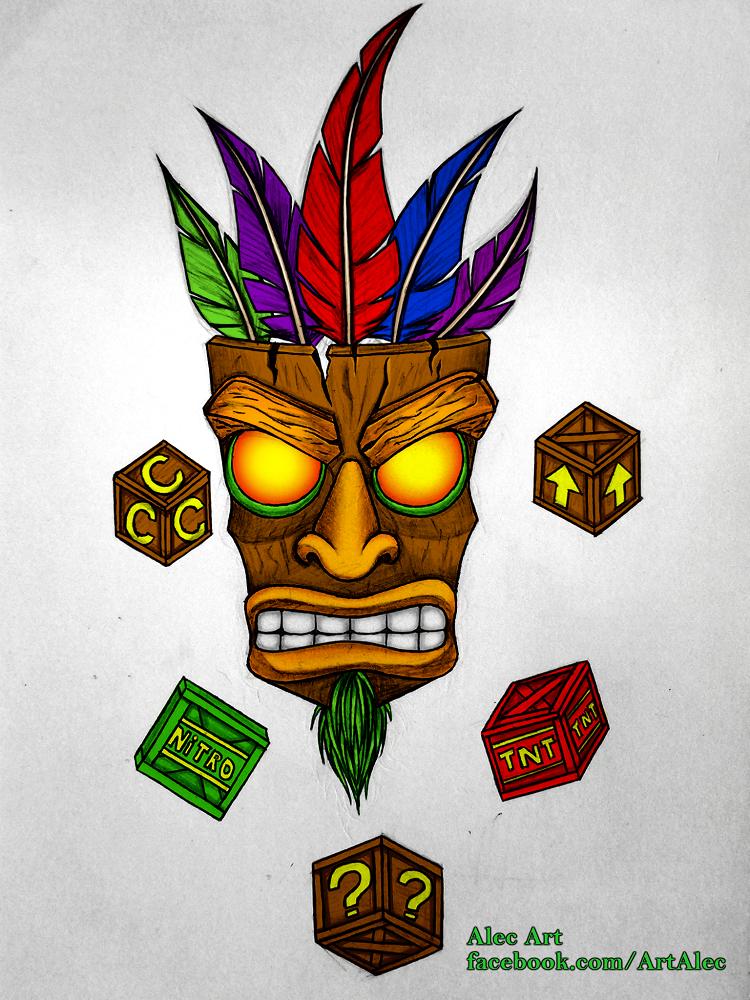 aku aku crash bandicoot by alec art on deviantart