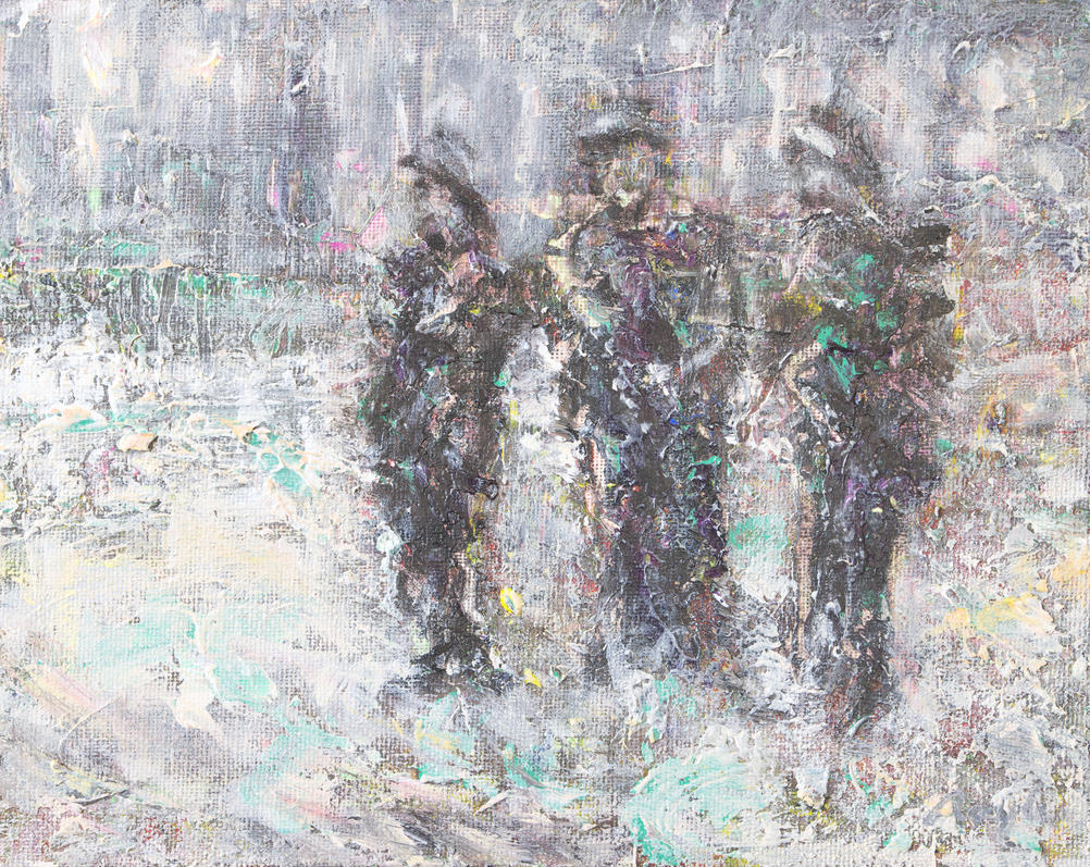 three soldiers standing by anaylanart