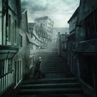 Rue d'Auseil, The Music of Erich Zann by mcrassusart