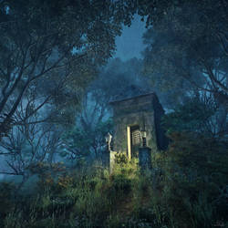The Tomb, nighttime - H.P. Lovecraft - Concept Art by mcrassusart
