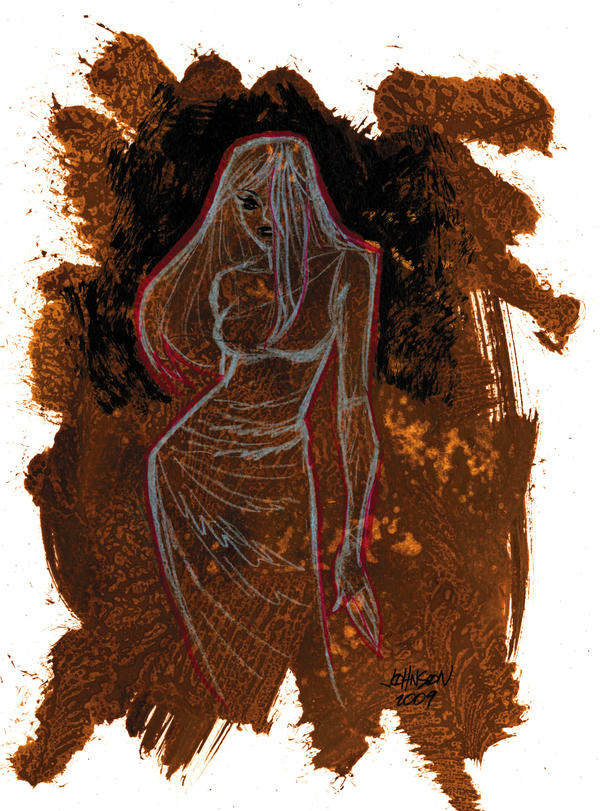 DDSC girl in dress on paint by Devilpig