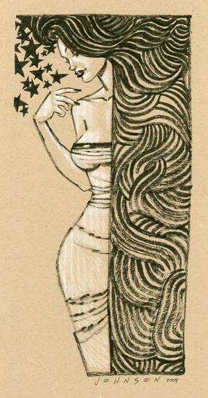 Hair girl on cardboard