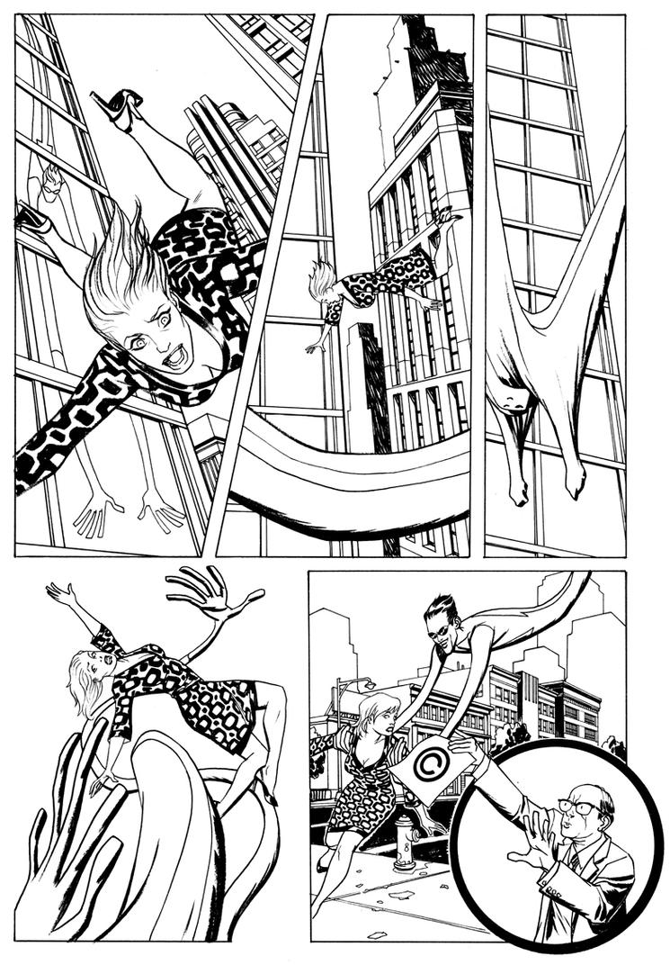 Me inking Mike Allred pg 1 by Devilpig