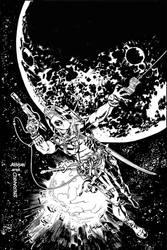 Deadpool 33 line art by Devilpig