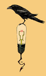 DDSC Raven on bulb, nevermore. by Devilpig