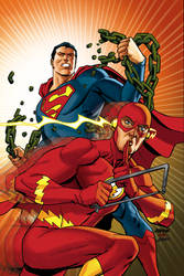 Superman and Flash variant cover by Devilpig