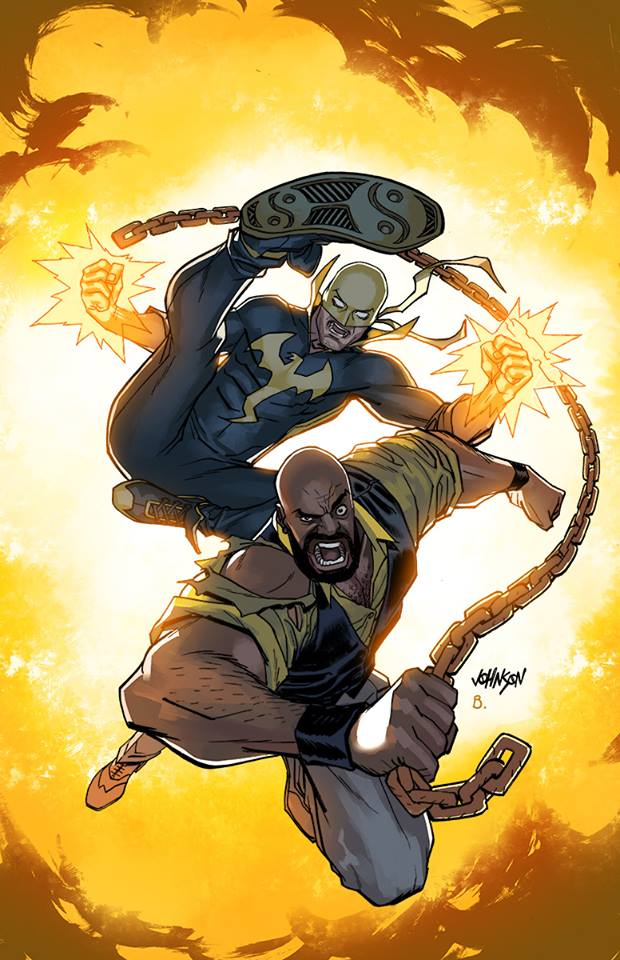 Powerman and Iron Fist variant cover by Devilpig