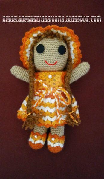 Orange amigurumi doll diydeladesastrosamaria by eldesastredemaria