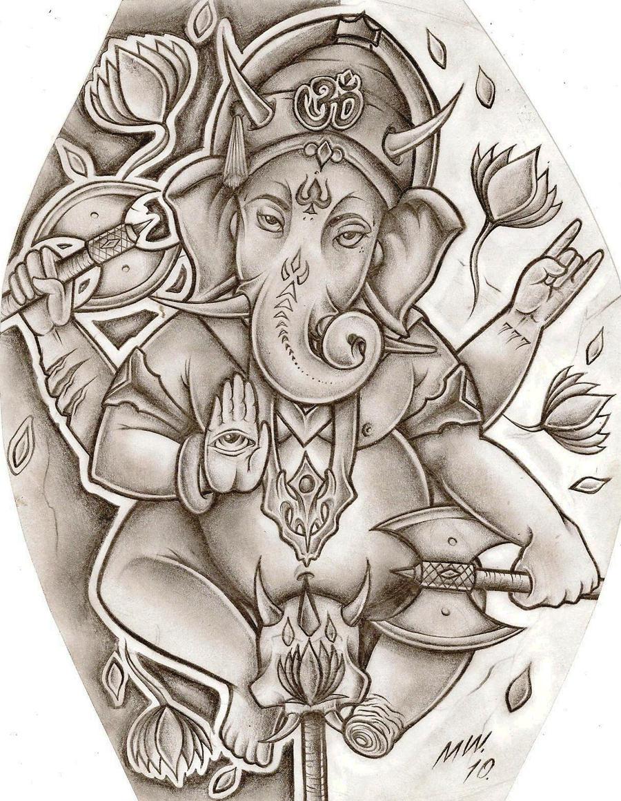 lord ganesha by matthewward traditional art drawings macabre horror ...