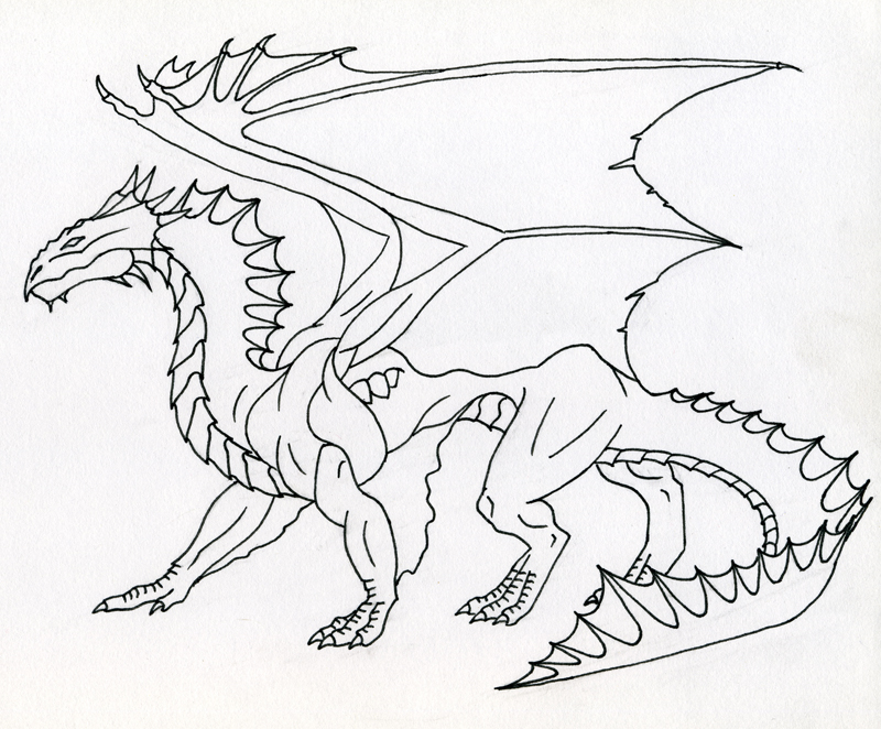 Line Drawing Dragon : Bronze dragon line art by kamakazi on deviantart