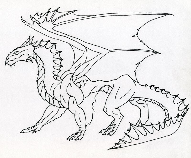 Dragon Line Drawing Easy : Bronze dragon line art by kamakazi on deviantart