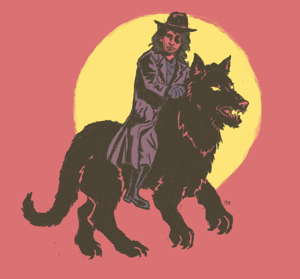 Van Helsing Riding Wolf by Debra-Marie