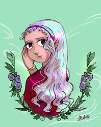 Pink Hair and Flowers