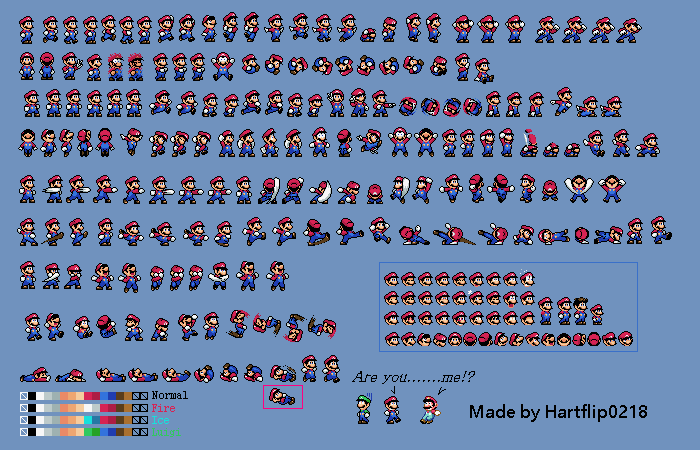 Custom Mario sprite sheet(ver.1) by Hartflip0218