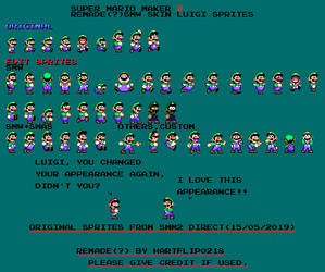 SMM2 SMW Luigi remade(+custom) sprite sheet by Hartflip0218