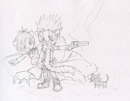 Trigun Cats - Sketch