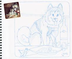 Elai @ Dinner - pencil sketch