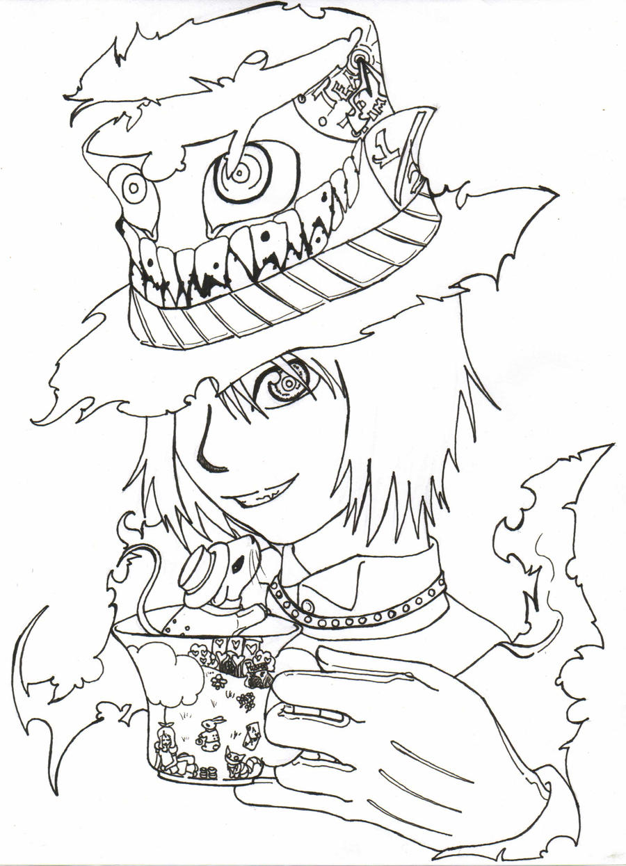 mad hatter line art by azrethr on deviantart