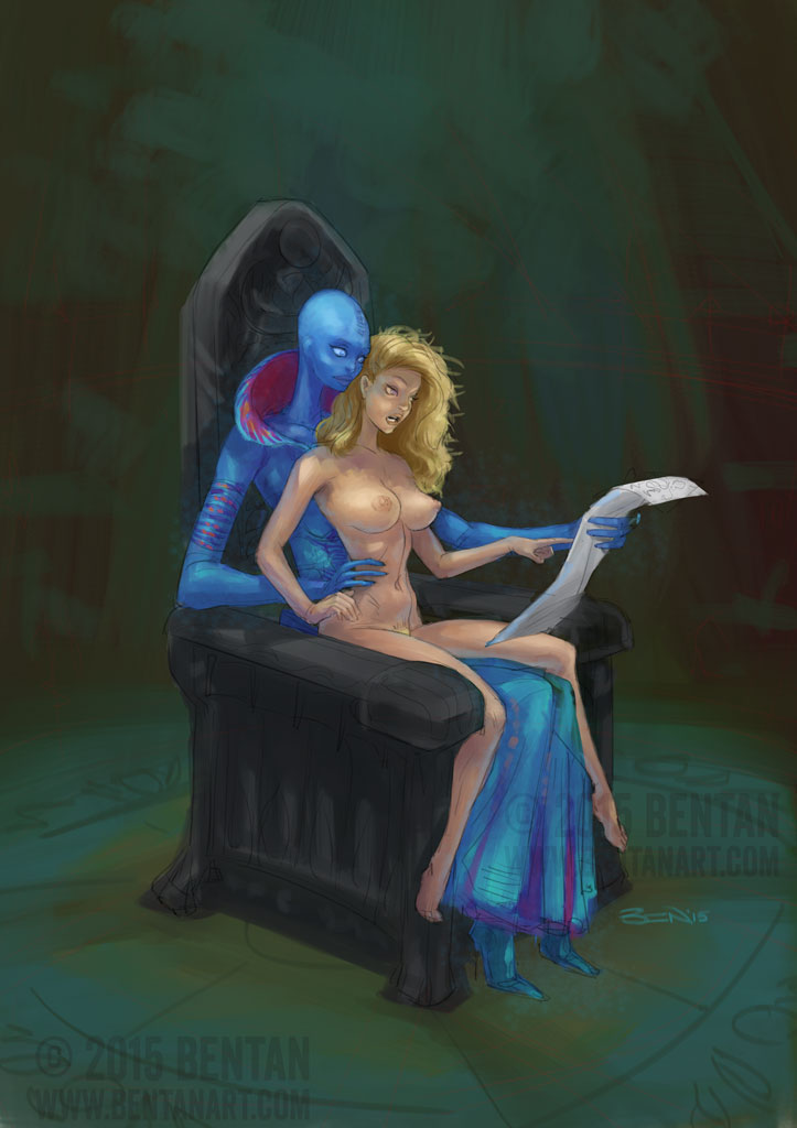 COMMISSION: Alien teaches reading to early human by BenTanArt