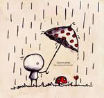 .Sous la pluie.