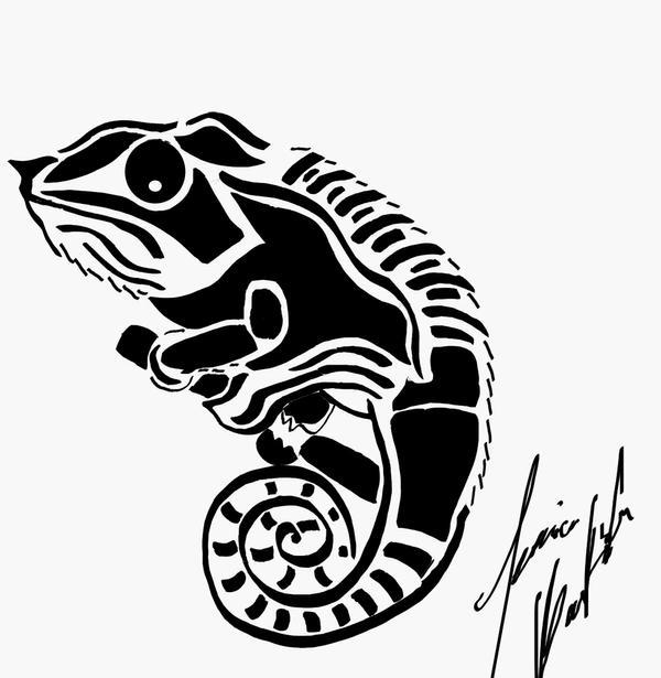 Chameleon Tattoo Designs Drawings: Tribal Chameleon By Jetsun On DeviantArt