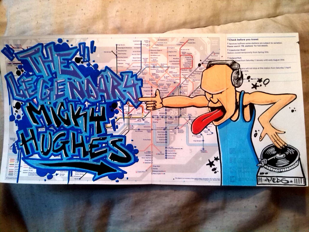 Your name in graffiti on london underground map by medzart