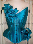 Blue Silk overbust corset