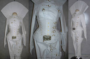 White leather overbust corset by AtelierSylpheCorsets