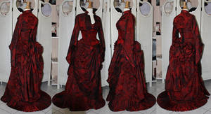Victorian red bustle skirt corset and top