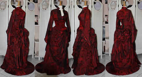 Victorian red bustle skirt corset and top by AtelierSylpheCorsets