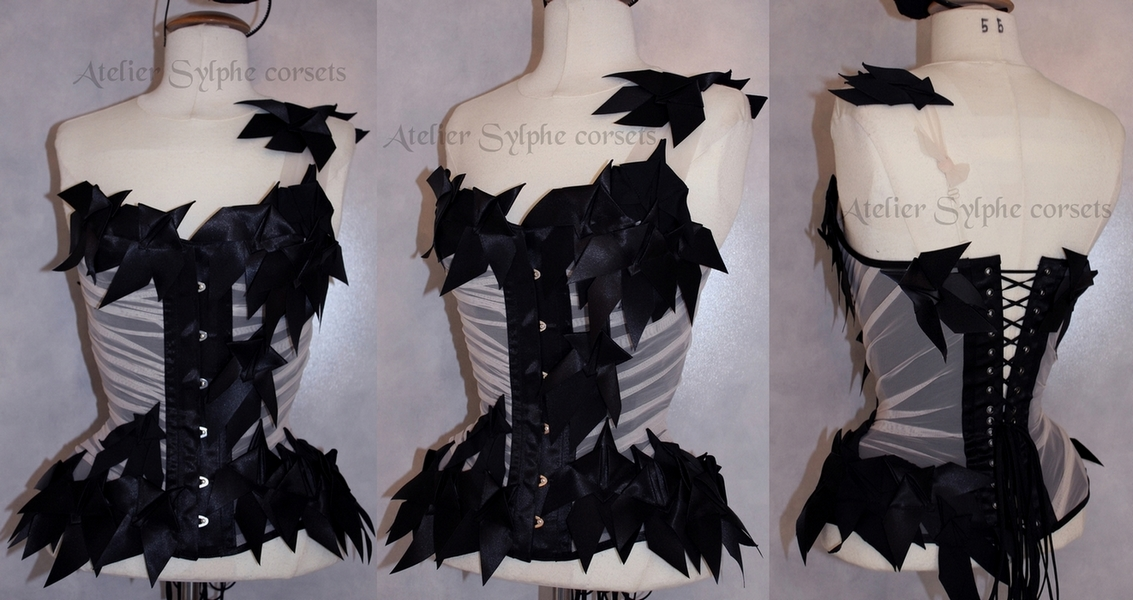 Black ribbon bows corset versus drapery by AtelierSylpheCorsets