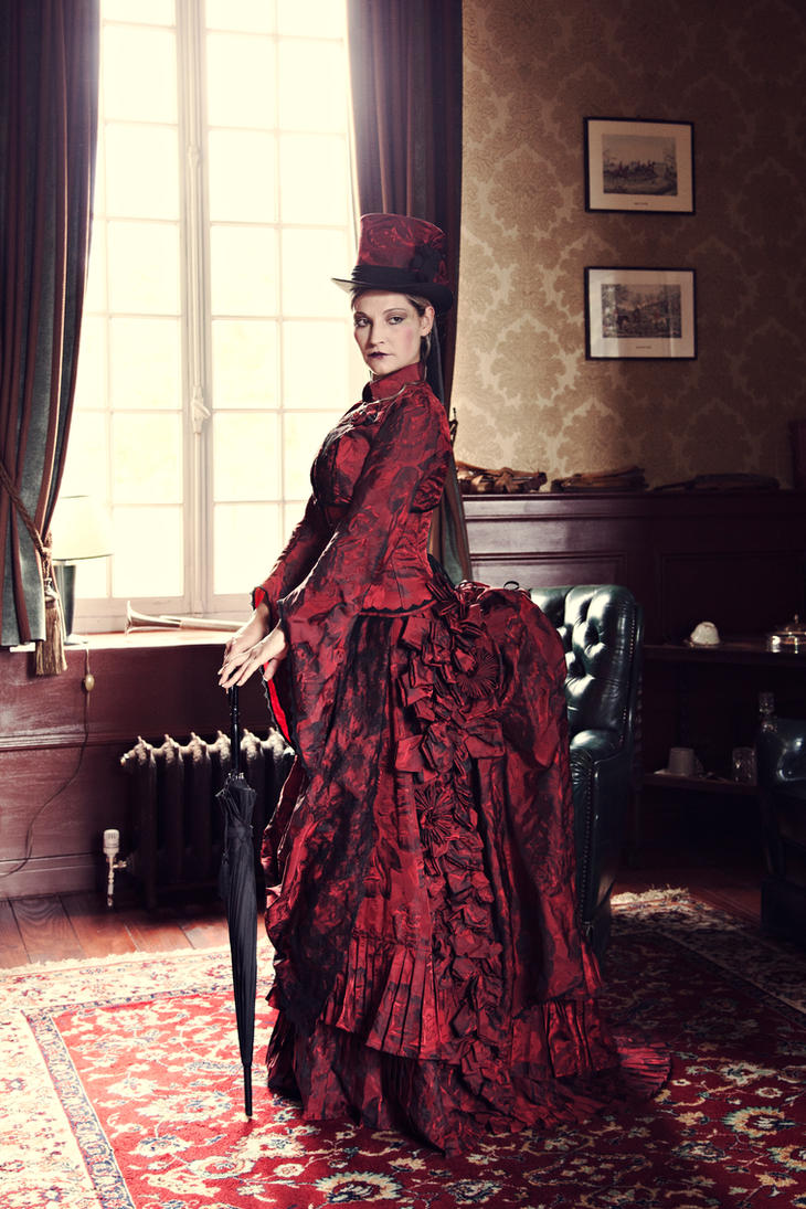 Myna dark red victorian corseted bustle gown by for Victorian bustle wedding dress
