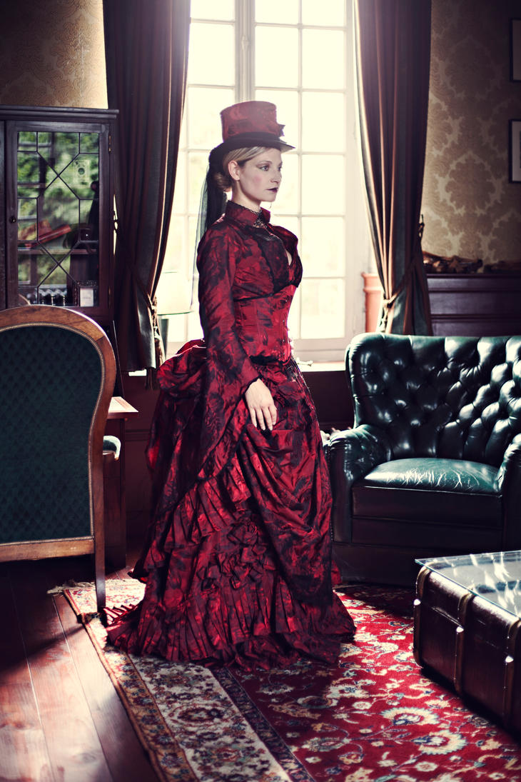 Myna dark red victorian corseted bustle gown 3 by ...