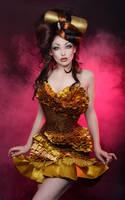 robe corset dress false snake skin and gold ribbon by AtelierSylpheCorsets