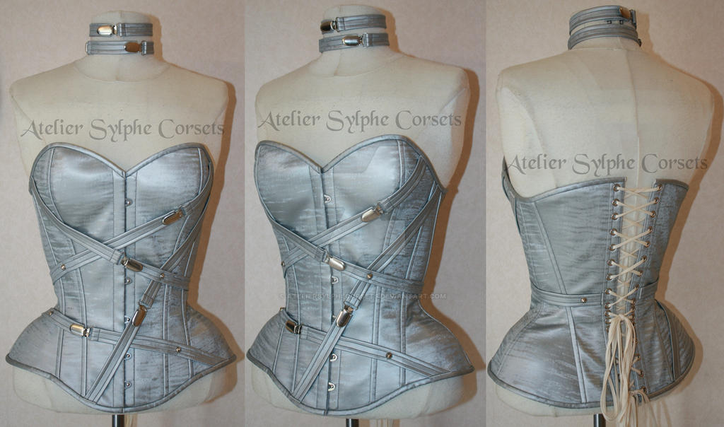 551ee042e2 Silver shiny PVC overbust corset with straps by AtelierSylpheCorsets ...