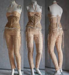 burlap underbust corset on fantaisy trousers by AtelierSylpheCorsets