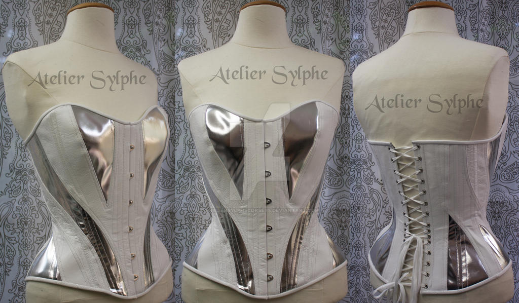 961ee523df Silver and white leather corset atelier Sylphe by AtelierSylpheCorsets ...