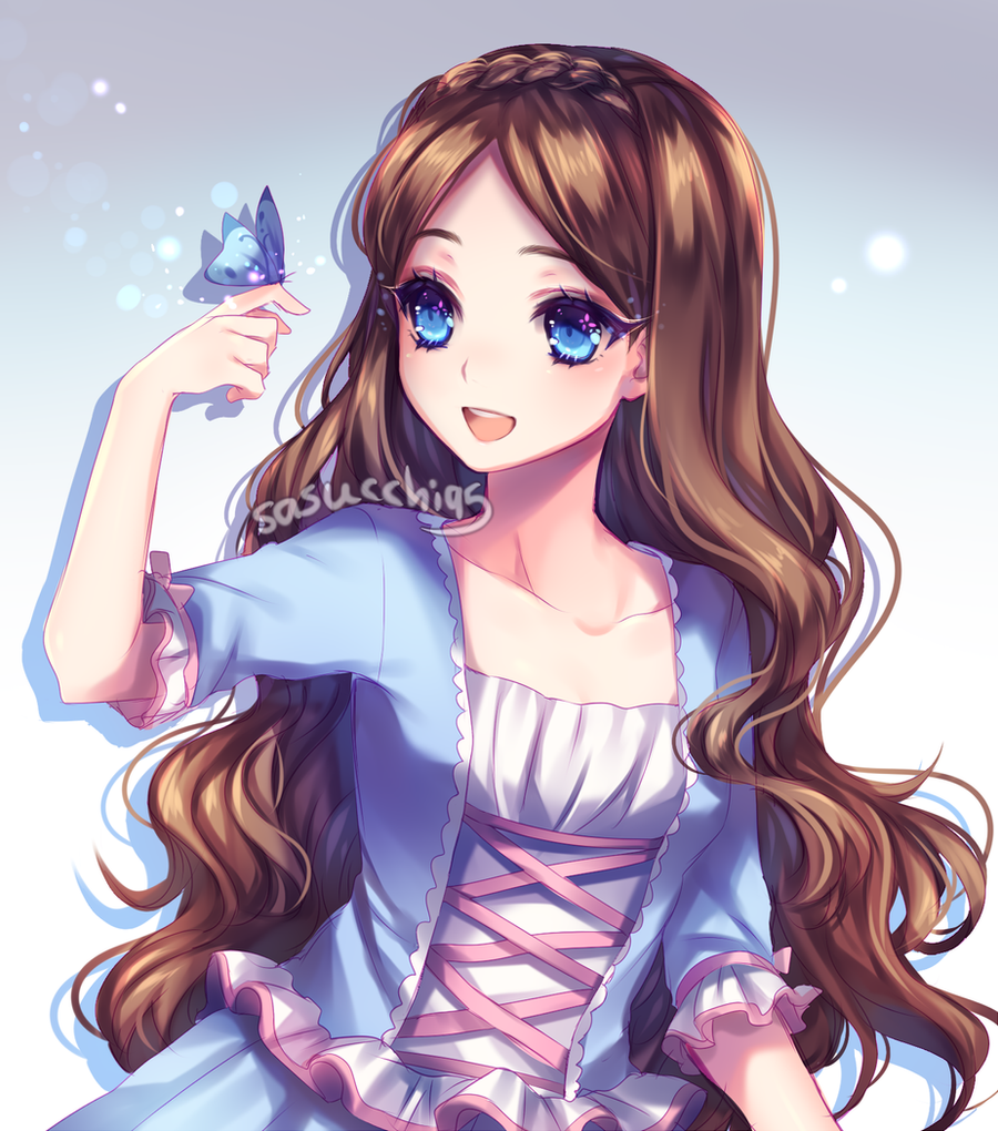 dark brown hair blue eyes anime girl